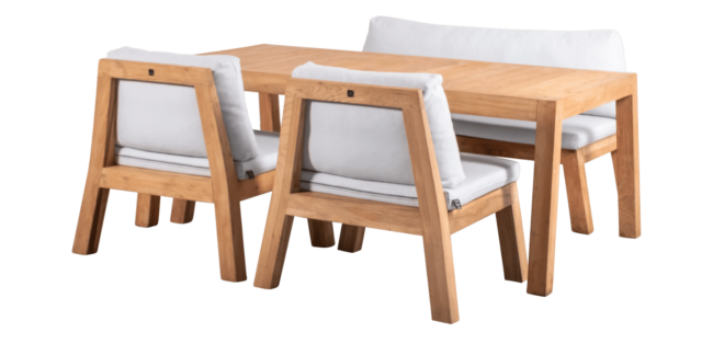 low dining set tafel en stoelen